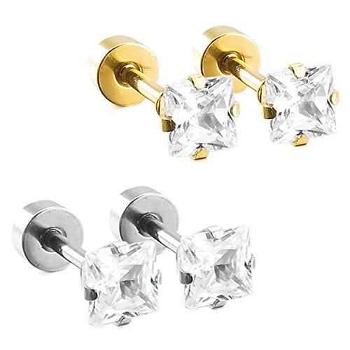 MunkiMix 4mm Acero Inoxidable Semental Pendientes Cz Cubic Zirconia Circonita Plata Oro Dorado Dos Tono Cuadrada Conjunto Set (2 Coppiaes) Hombre,Mujer
