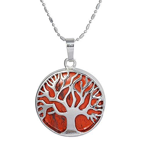 mookaitedecor Lebensbaum Anhänger Halskette für Frauen und Männer, Heilung Stein Anhänger mit Kette 22,5