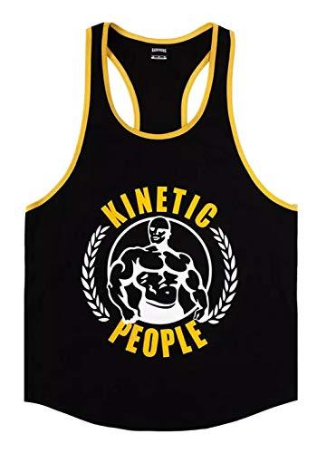 A. M. Sport Camisetas de Hombre de Tirantes Deportiva. Camiseta Gimnasio Pesas Entrenamiento. (Kinetic People) - L