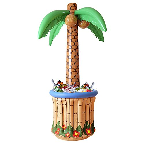 NET TOYS Aufblasbare Palme mit Getränkekühler Partypalme 182 cm Palmeninsel Fun Palme Flaschenkühler Aloha Sommerparty Hawaii Deko aufblasbar Party Dekoration