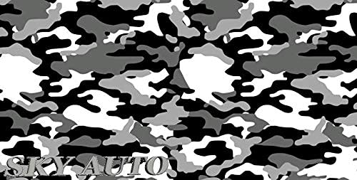 """Sky Auto INC Black White Gray Camouflage Vinyl Car Wrap Film Sheet + Free Cutter & Squeegee (40FT x 5FT/480"""" x 60"""")"""