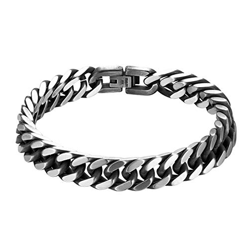 JewelryWe Schmuck Herren Armband Edelstahl Panzerkette Armband schwer Glieder Link Kettenarmband 21CM Armkette Armreif Grau