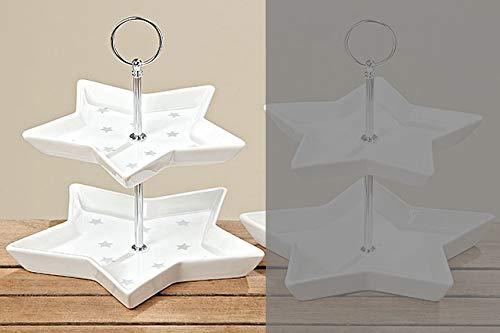 Tamia-Home Etagere Serviceständer Deko Weihnachten Cupcake Ständer 2-stöckig Stern H24cm Dolomit weiß (grau Sterne)
