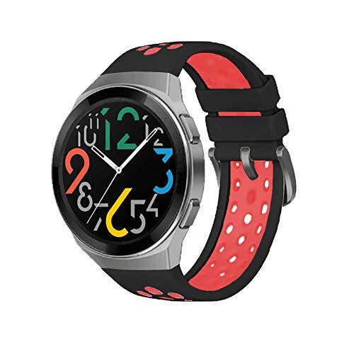 SIKAI CASE - Reemplazo de Correa Compatible con Huawei Watch GT 2e 46mm, Deportiva de Silicone de Liberación Rápida, Ajustable Pulsera Brazalete de Repuesto, Impermeable Banda (Negro Rojo)