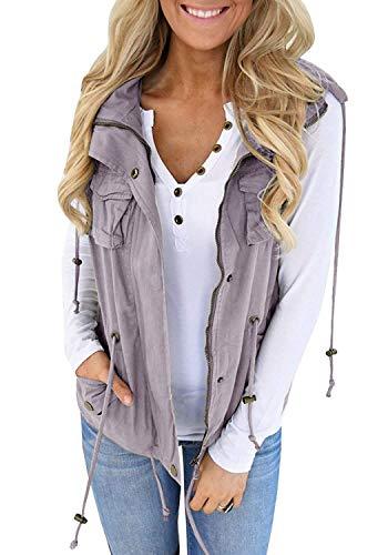 Tutorutor Womens Military Safari Camo Vest Utility Lightweight Sleeveless Hooded Drawstring Jackets with Pockets