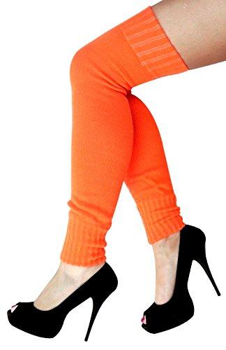 krautwear® Damen Beinwärmer Stulpen Legwarmers Overknees gestrickte Strümpfe ca. 70cm 80er Jahre 1980er Jahre (orange)
