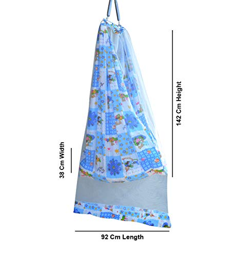 Younique Baby Cradle/Baby Jhula Swing/Baby Bed/Baby Bedding Set with Mosquito Net and Spring Set (0-18 Months Baby) (Blue&White)