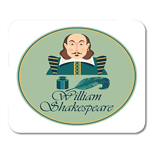 Alfombrillas de ratón Libros Blanco Shakespeare Retrato de William Shakepeare con tintero...