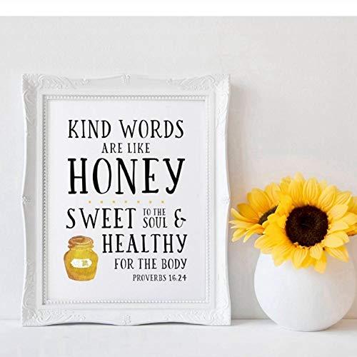 Terilizi opschrift kunstdruk op wand spreuken 16:24 spreuk Bijbel Citaten Posters Liefdevolle woorden zijn als de honing kunst canvas schilderij decoratie voor de muur thuis - 40 x 50 cm zonder lijst