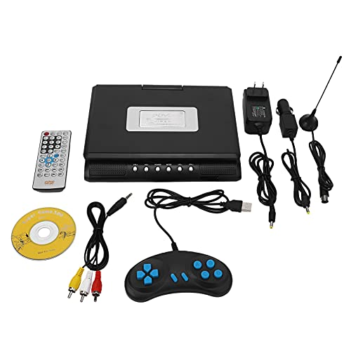 FDSF 7.8 Inch TV Home Car DVD Player Portable HD VCD CD MP3 HD DVD Player USB Cards RCA Portable Cable Game 16:9 Rotate LCD Screen-US Plug