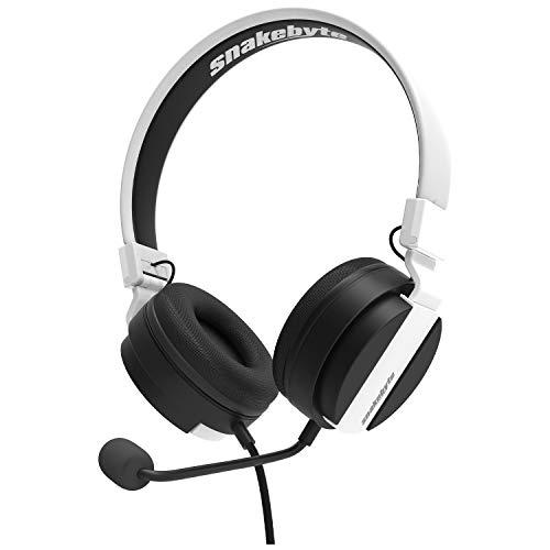 snakebyte PS5 HEADSET 5 - schwarz/weiß - PlayStation 5 Stereo Gaming Kopfhörer, 40mm-Audiotreiber, abnehmbaren Mikrofon, gepolsterte Kopfhörer, 3,5mm Klinke, kompatibel mit PS4, Xbox, PC, VOIP, Skype