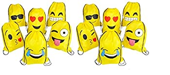 RIN EMOJI Assorted Emoticon Party Favors Drawstring Backpacks 12-Pack 16x13-Inch