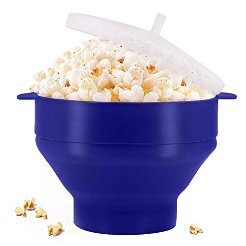 Original Microwaveable Silicone Popcorn Popper, BPA Free Collapsible Hot Air Microwave Popcorn Maker Bowl, Use In Microwave or Oven, Dishwasher Safe (Various Colors Available-Blue)