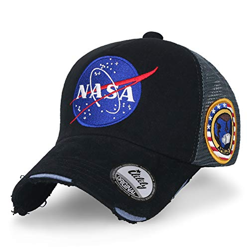 ililily NASA Meatball abgebildet im Logo Stickerei Baseball Cap Apollo 1 Flicken Trucker Cap Hut, Black