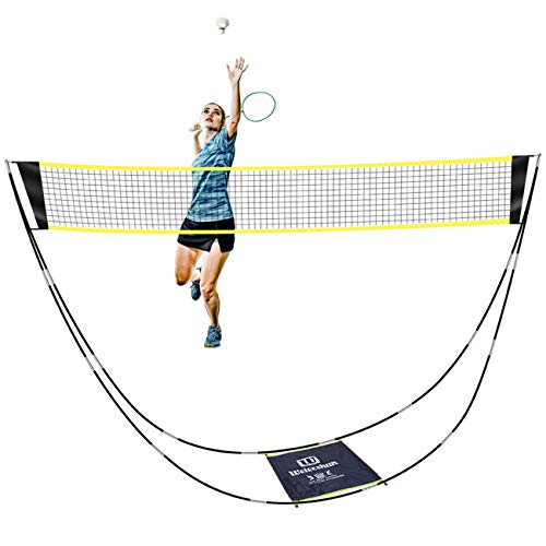 SUNBA YOUTH Badminton Net,Portable Badminton Net Set with Stand Carry Bag,Foldable Tennis Volleyball Net for Indoor Outdoor Sports, No Tools or Stakes Required