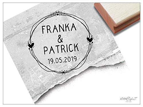Stempel Individueller Hochzeitsstempel personalisiert mit Namen und Datum, Namensstempel zur Hochzeit Einladung Geschenk Tischdeko - zAcheR-fineT