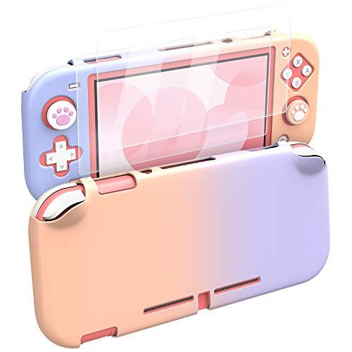 MoKo Funda para Nintendo Switch Lite, Protectora para PC con 4 Tapas de Agarre Pulgar y 2 Protectores Pantalla de Vidrio Templado Transparente HD, Antideslizante, Resistente a Arañazos, Rosa + Violeta