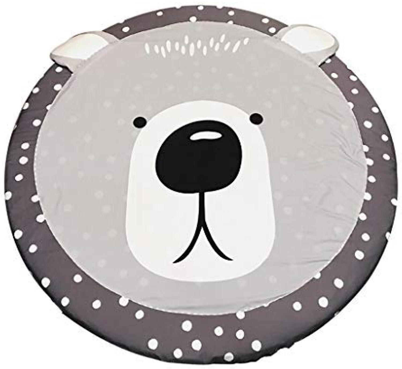 ZHAS Round Carpet Cartoon Animal Shape Non-Slip Circular Floor mat Removable Baby Game Bedroom mat