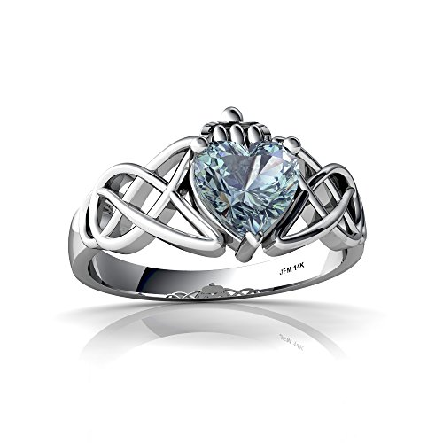 14kt White Gold Aquamarine 6mm Heart Claddagh Celtic Knot Ring - Size 7.5