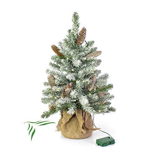 artplants.de Petit Sapin de Noël Vienne, Vert, avec Pommes de pin, Neige Artificielle, avec LED, 90cm, Ø50cm - Arbre Artificiel Lumineux