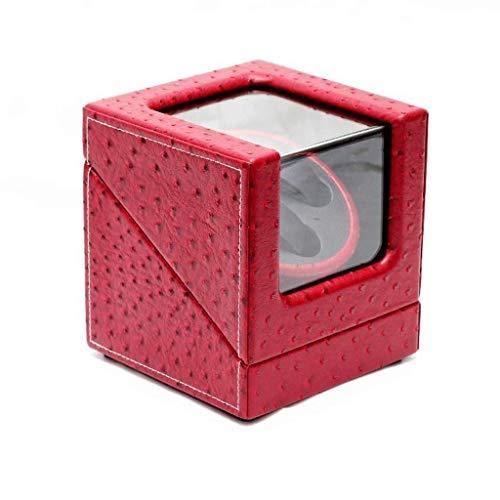 Automatischer Uhrenbeweger, Haushaltsbox, für 2 handgelenksichere hölzerne Uhren Wickelgehäuse UltraQuiet Rotation Turns Per Day, dreifarbig (Farbe: Rot)