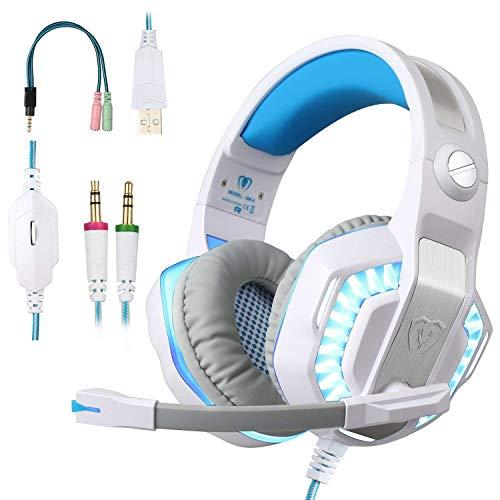BlueFire Auriculares Gaming PS4, 3.5mm Cancelación De Ruido Cascos Gaming, Juego Auriculares con Micrófono para Nueva Xbox One PS4 Tablet Smartphone (Blanco)
