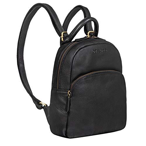 STILORD 'Ruby' Daypack Damen Leder Rucksack Kleiner Lederrucksack Vintage Rucksackhandtasche Cityrucksack für Ausgehen Shopping Tagesrucksack S Echtleder, Farbe:schwarz