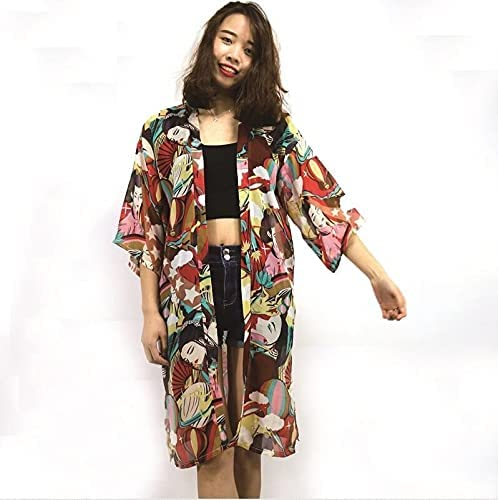 GZSZYA Japanese Cardigan Fashion Blouse Women 2019 Sleeve Cardigan Traditional Kimonos Dress FZ016 Men's Robes (Color : 2, Size : One Size)