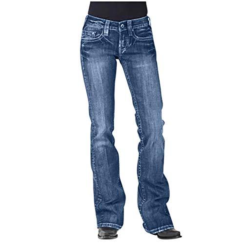 Kaister Damen Gerade Hosen Mittlere Taille Jeans Bestickte Stretch Baumwoll Jeans