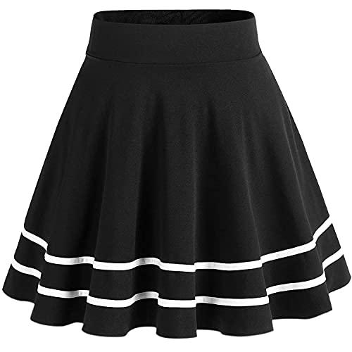 DRESSTELLS Falda Mujer Mini Corto Elástica Plisada Básica Multifuncional Black-White S