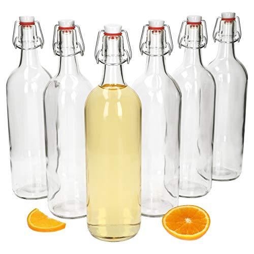 MamboCat 6-delige set beugelflessen Berta 1 liter I wit helder glas fles I glazen flessen incl. draadbeugelsluiting I om zelf te vullen