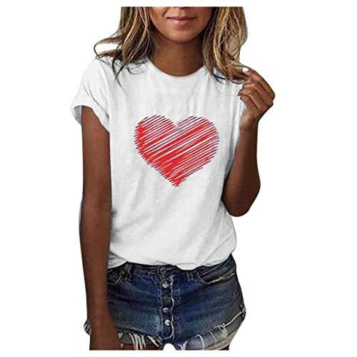 Ba Zha HEI New Mode Frauen Brief Bluse T-Shirt Kurzarm lose Modisch Damen T-Shirt Rundhals Kurzarm Ladies Sommer Oberteil Locker Bluse Sommer Weiß Schwarz Oberteile Mode Tops (Weiß, L)