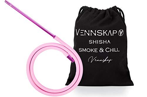 Vennskap Shisha Silikonschlauch komplett Set inkl. Alu - Mundstück und Tasche und für jede Shisha passend - Pink