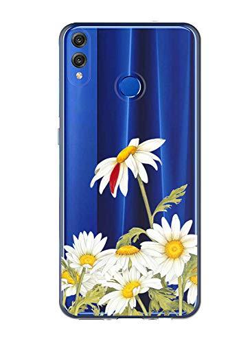 Oihxse Case Transparente Suave TPU Compatible con Huawei Honor 8S/Y5 2019 Funda [Lindo Caricatura Flor Serie Dibujos] Cristal Protector Carcasa Anti Rasguños Bumper Cover-Crisantemo