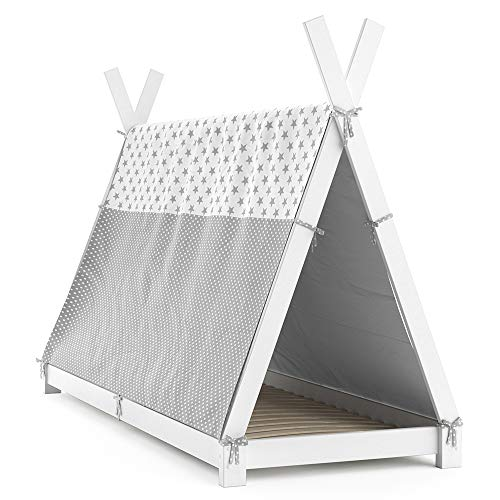 VitaliSpa Kinderbett Tipi Hausbett Indianer Bett Kinderhaus Massivholz Zelt Holz (Weiß, 90 x 200 cm + Überwurf)