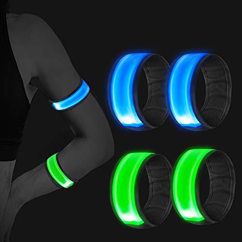 Vegena 4 Stück Reflektorband, LED Armband,Leuchtband Reflective Leucht Armbänder Lichtband Lauflicht Licht Reflektoren Kinder Reflektor für Laufen Joggen Radfahren Hundewandern Running Outdoor Sports