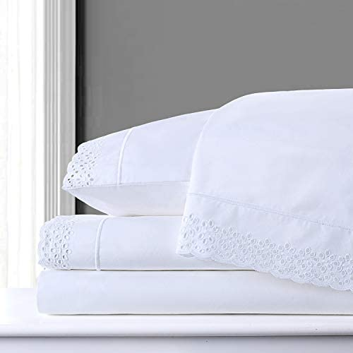 PANDATEX 100 Combed Cotton 200TC Bed Sheets Set Embroidered Percale Lace Hotel Quality Sheets product image