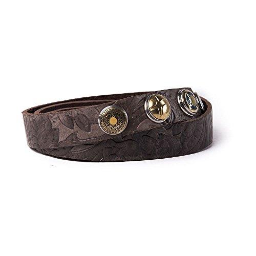 Noosa Gürtel Belt Classic Skinny Embossed chocolate brown, Grösse:85 cm