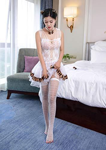 MEN.CLOTHING-LEE Ropa de Dormir para Mujer Corsés para Mujer Conjunto de Uniforme de Lolita Catwoman Sexy Cosplay Lencería Sexy Falda de hojaldre-Blanca con Medias Talla única