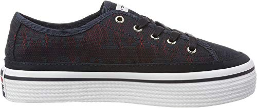 Tommy Hilfiger Damen Tommy Jacquard Flatform Sneaker, Blau (Midnight 403), 39 EU