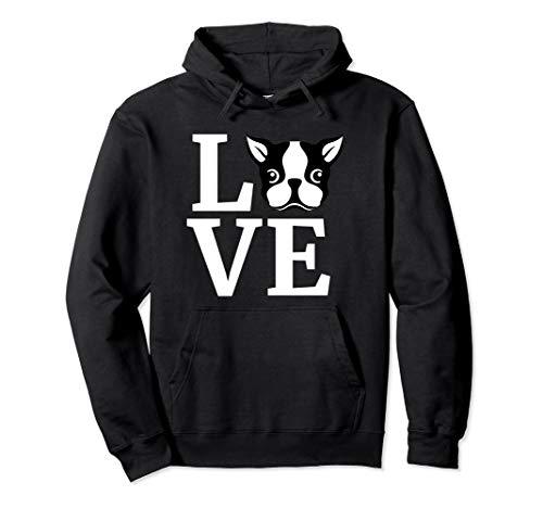 Boston Terrier Hoodie Love Bostie Hooded Sweater Dog Gift Pullover Hoodie