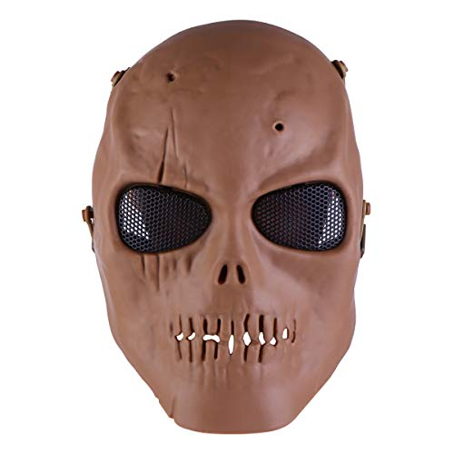 ABOOFAN Máscara protectora táctica de malla de acero de cara completa para la esgrima del juego de Paintball CS