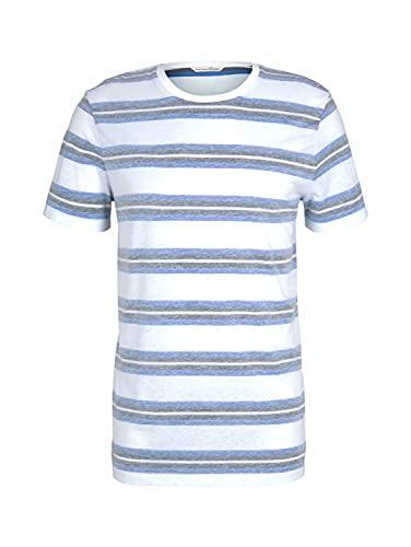 TOM TAILOR Denim 1024866 Striped Camiseta, 26523-Rayas Blancas y Azules, S para...