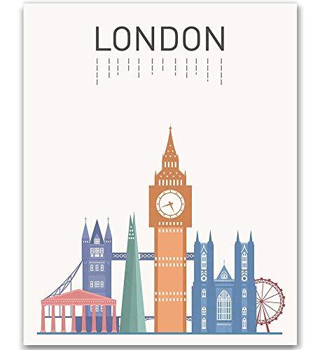 London Print London Art London Landmark Print Big Ben London Famous Building London Tower Art London City Print Gift Idea Unframed Art London Map 8x10