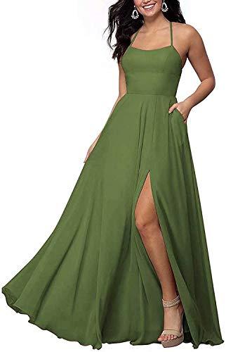 RYANTH Maxi Bridesmaid Dresses with Slit Halter Chiffon Formal Dress Long RYZ05 Olive Green 4