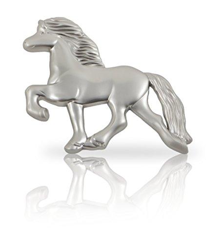 steev Isländer Pferde-Figur Hemlir - Tölter für Auto-Kühlergrill, Boxentür, Wand, u.v.m. Das Original (Silber)