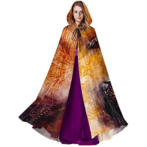 Zome Lag Devil Witch Wizard Cloak,Cloak With Hood,Party Wizard Cape,Halloween Cosplay Costume,Ancient Dragon And Ornament And Softly Blurred Wat Hooded Cloaks Cloak Capes Adults