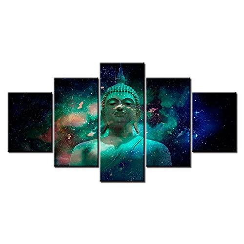 HAOQIPA Estatua De Buda con Espacio Planeta Abstracto Cuadro En Lienzo 5 Piezas Set Cuadros Cuadro sobre Lienzo Cara De No Tejido Impresión En Lienzo Decoracion Pared Regalo Creativo(150x80CM)