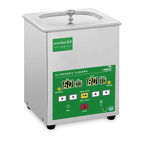 Ulsonix PROCLEAN 2.0ECO Lavatrice Ultrasuoni Pulitore Ultrasuoni Vasca Ultrasuoni Professionale (2 L, Potenza Ultrasonica 60 W, Potenza di Riscaldamento 50 W, 40 kHz, Timer 60 min, Acciaio Inox)