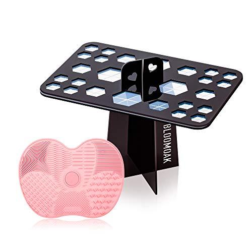 BLOOMOAK Make-up borstel reinigingsset, inklapbaar droogrek met 26-Hole Deisgn en siliconen reinigingsmat met 5 zuignappen, perfecte wasmiddelen voor thuisgebruik en reizen